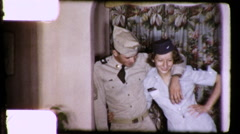 US Soldiers Hug Lovers Air Force Army Couple 1960s Vintage Film Home Movie 9163 - stock footage