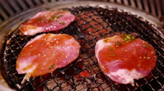 Pork grill on hot coals. - stock footage