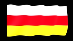 Flag of South Ossetia.  Waving (PNG) computer animatie. Stock Footage