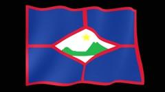 Flag of Sint Eustatius. Waving (PNG) computer animatie. Stock Footage