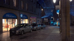 St Malo at Night with Christmas Decorations Stock Footage