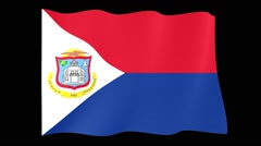 Flag of Sint Maarten.   Waving (PNG) computer animatie. - stock footage