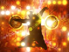 Dancing male silhouette - stock illustration