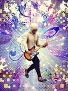 Funky guitarist - stock illustration