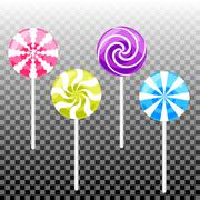Sweet lollypop candy set. Colorful sugar canes - stock illustration