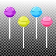 Sweet lollypop candy set. Colorful sugar canes Stock Illustration