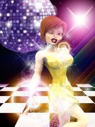 Girl on dance floor - stock illustration