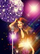 Girl with retro microphone Stock Illustration