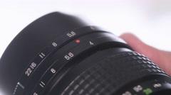 4K Adjusting Camera Lens Ring Photographer Stock Footage
