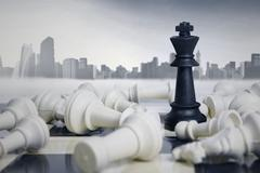 Business Strategic Formation in The Chess Game Stock Photos