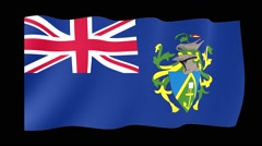 Flag of the Pitcairn Islands.  Waving flag (PNG) computer animatie. Stock Footage