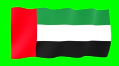 Flag of the United Arab Emirates.  Waving flag (PNG) computer animatie. Stock Footage
