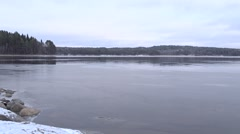 Freezing lake Stock Footage
