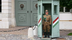 BUDAPEST - HUNGARY, AUGUST 2015: castle, palace guards soldiers Stock Footage
