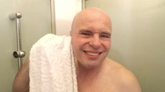 Hairless man in bathroom. Stock Footage