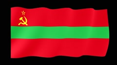 Flag of Transnistria. Waving flag (PNG) computer animatie. Stock Footage