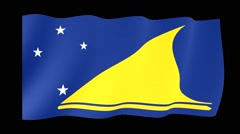 Flag of Tokelau. Waving flag (PNG) computer animatie. Stock Footage