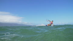 Young Woman Kitesurfing In Ocean, Extreme Summer Sport - stock footage