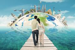 Stock Photo of Couple Holiday on The Worldwide Monuments