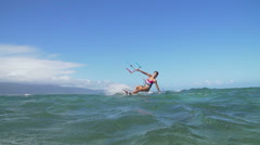 Slow Motion Woman Kite Surfing, Extreme Sport - stock footage