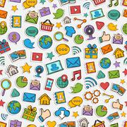 Vector Sticker mobile apps pattern - stock illustration