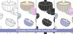 Seamless patterns with Thai massage, spa elements Stock Illustration