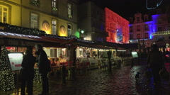 Street in St Malo, France at Christmas Stock Footage