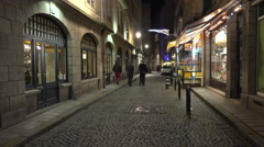 Street in St Malo France at Christmas Stock Footage
