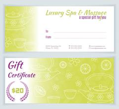 Stock Illustration of Spa, massage gift certificate template