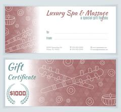 Spa, massage gift certificate template - stock illustration