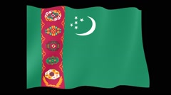 Flag of Turkmenistan. Waving flag (PNG) computer animatie. - stock footage