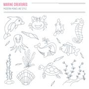 Collection of hand drawn sea creatures - stock illustration