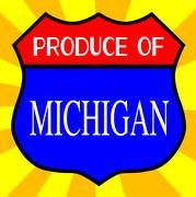 Produce Of Michigan Shield - stock illustration