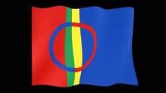 Stock Video Footage of Sami flag. (International Organization...Lappland)    Waving (PNG) computer anim