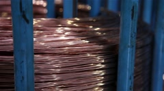 Stock Video Footage of copper roll for coated copper cables, slider shot
