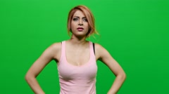 Woman Doing Shoulder Exercises on Green Screen Stock Footage