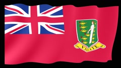 Civil Ensign of the Birish Virgin Islands.  Waving flag (PNG) computer animatie. Stock Footage