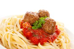 Pasta with tomato sauce and meatballs. Stock Photos