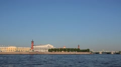 Saint Petersburg Neva River and Vasilievsky Island Stock Footage