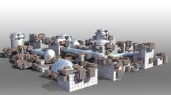 Futuristic city architecture Stock Illustration