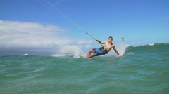 Young Man Kite Surfing In Ocean, Extreme Summer Sport Stock Footage