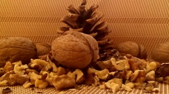 Walnut on brown background with cone - stock footage