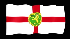 Flag of Alderney. Waving flag (PNG) computer animatie. Stock Footage