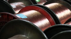 Many coils of copper wire industry Stock Footage