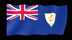 Flag of Anguilla. Waving flag (PNG) computer animatie. Stock Footage
