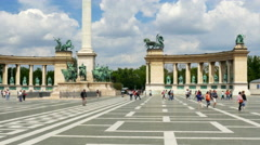 Stock Video Footage of Budapest Heroes Square, 4k