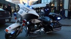 Vancouver police bike, flashing lights Stock Footage