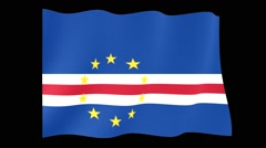Flag of Cape Verde. Waving flag (PNG) computer animatie. - stock footage