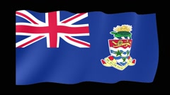 Flag of Cayman Islands.  Waving flag (PNG) computer animatie. - stock footage
