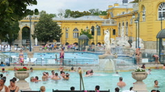 BUDAPEST - HUNGARY, AUGUST 2015: szechenyi thermal bath view Stock Footage